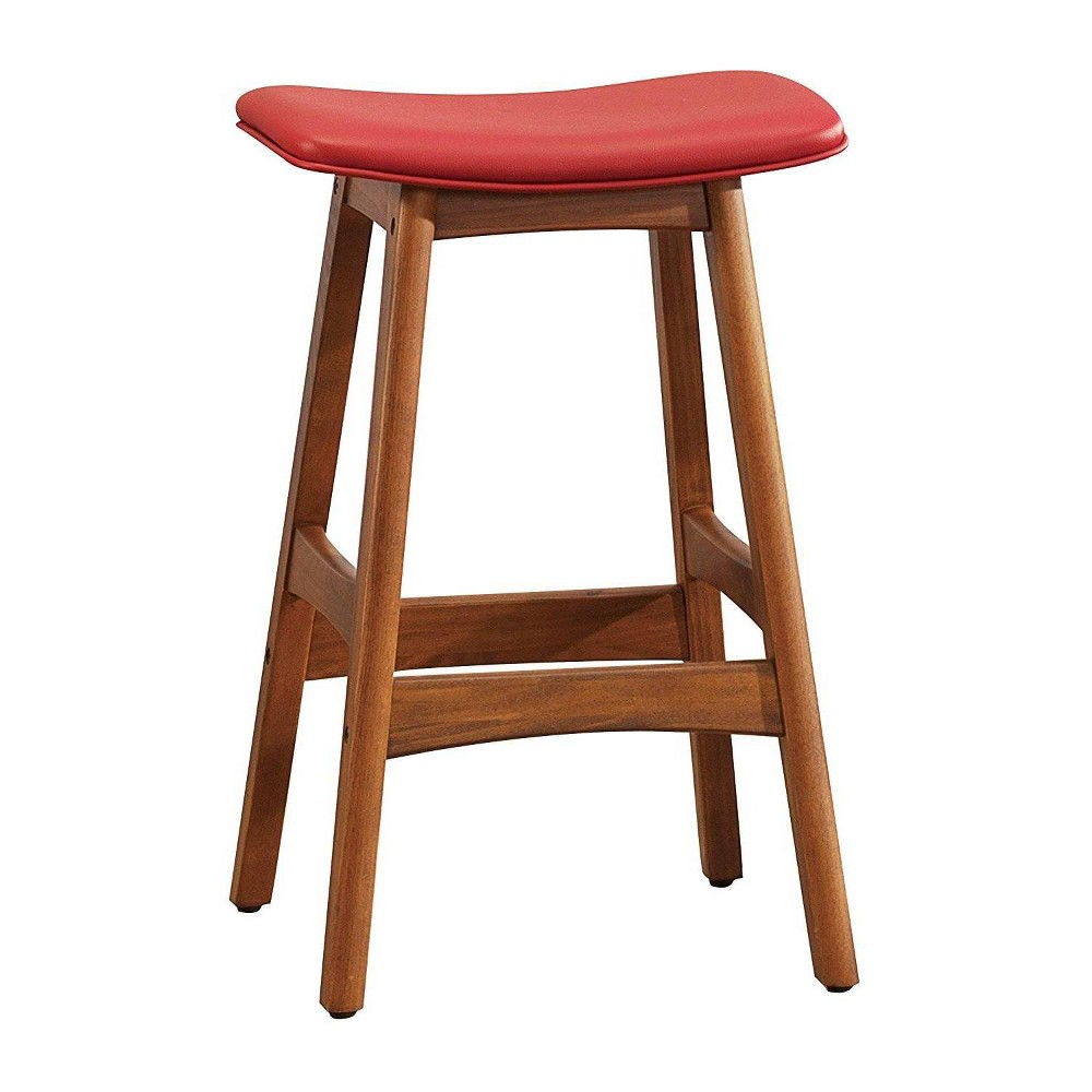 Image of Contemporary Style Leather Upholstered Wooden Counter Height Stool Red and Brown - Benzara