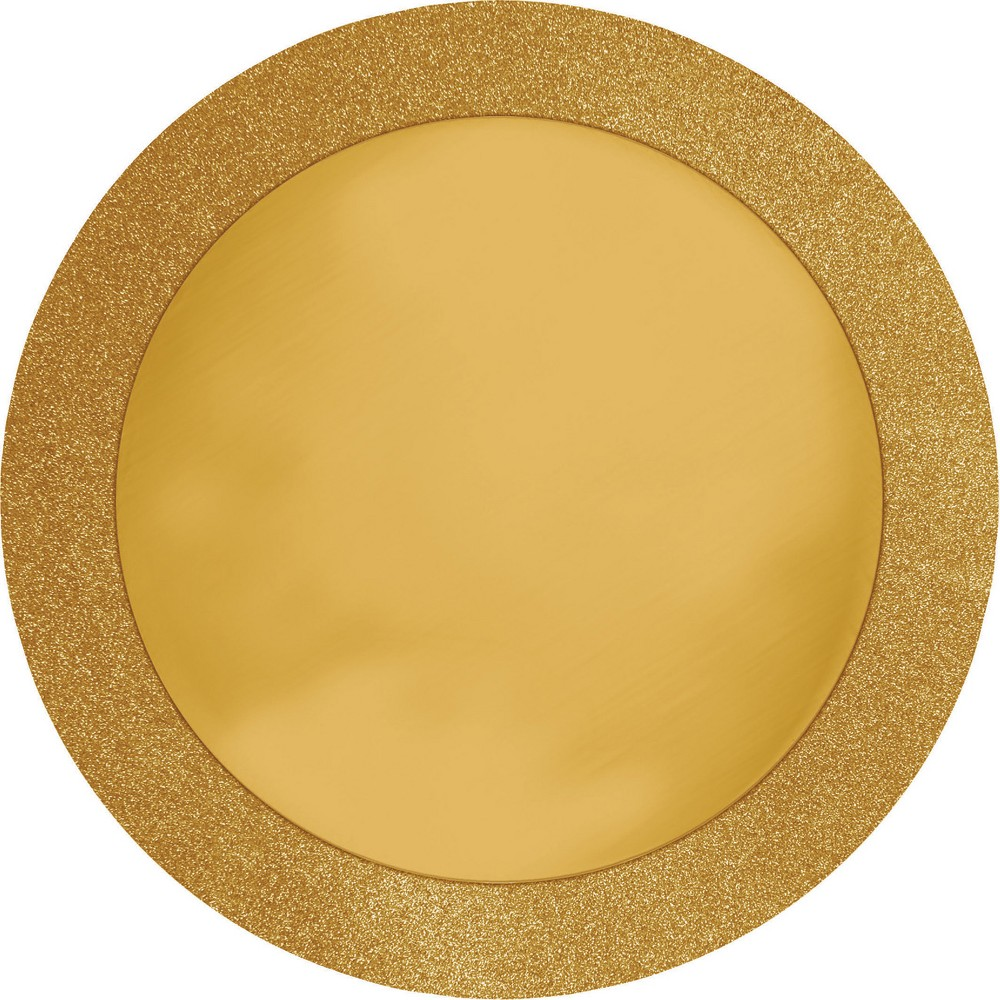 Round Gold Placemats With Glitter Border 8 Pk