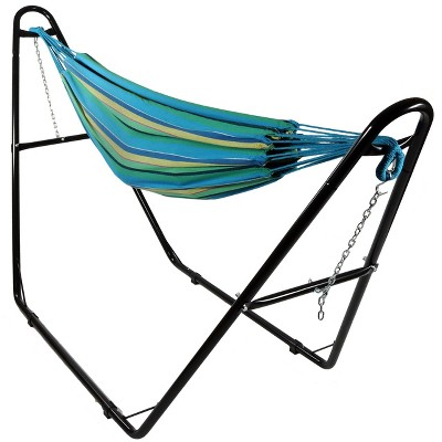 Sunnydaze Large Two-Person Double Brazilian Hammock with Universal Stand - 450 lb Weight Capacity - Sea Grass