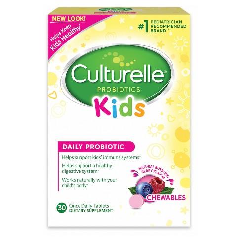 Kid's Culturelle Probiotic Chewable Tablets - Bursting Berry - 30ct - image 1 of 4