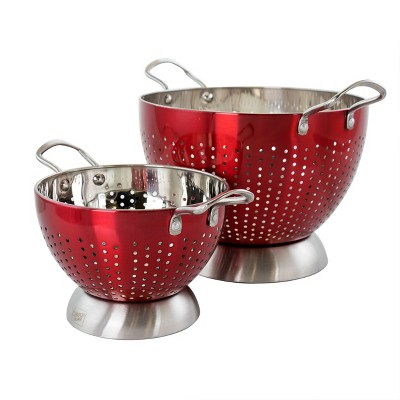 The Gibson Home Crossen 2 Piece Stainless Steel Colander Set in Red