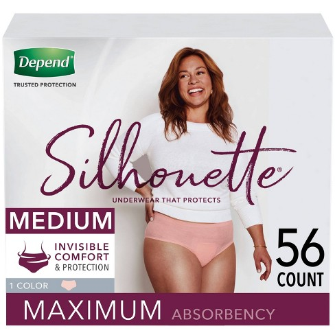 Depend Silhouette Incontinence Underwear for Women - Maximum Absorbency - Medium - Pink - 56ct (2 Packs of 28) - image 1 of 4