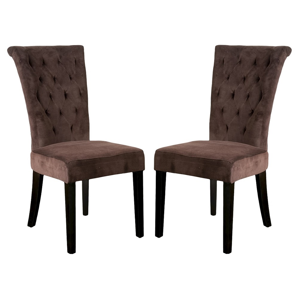 Venetian Velvet Dining Chairs - Dark Chocolate (Brown) (Set of 2) - Christopher Knight Home