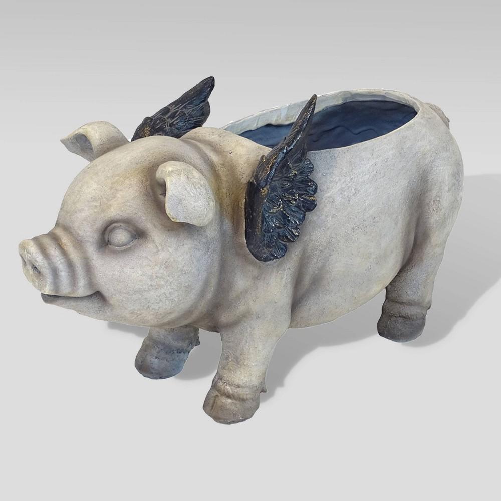 20 Winged Pig Polyresin Animal Planter Gray - Esschert Design