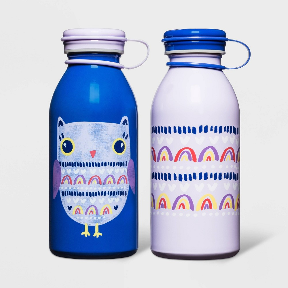 Image of 12oz 2pk Stainless Steel Rainbow Owl Water Bottles Purple - Cat & Jack
