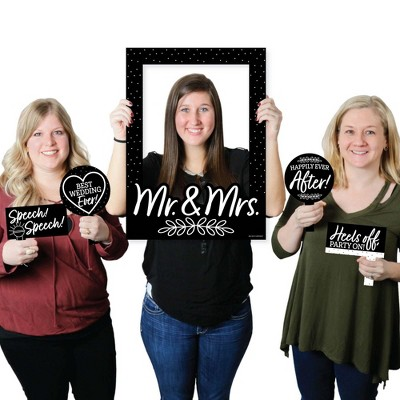 Big Dot of Happiness Mr. and Mrs. - Black and White Wedding or Bridal Shower Selfie Photo Booth Picture Frame and Props - Printed on Sturdy Material
