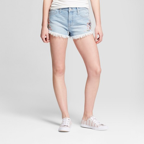 b4286f4b23d Women s High-Rise Floral Embroidered Jean Shorts -Mossimo Supply Co.™ Light  Wash