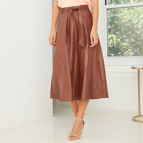 Women's Faux Leather Circle Midi Skirt - Who What Wear™ - image 1 of 4