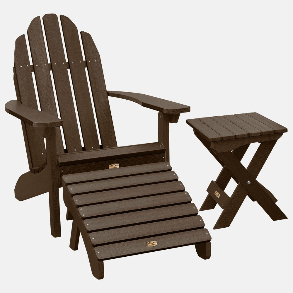 Image of Essential Adirondack Patio Chair with Ottoman & Side Table Canyon Brown - highwood