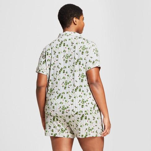d24253168bd7 Women s Plus Size Floral Print Total Comfort Notch Collar Pajama Set -  Gilligan   O Malley™ Gray 2X   Target