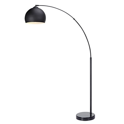"67"" Arquer Arc Floor Lamp with Black Shade and Black Marble Base - Versanora"