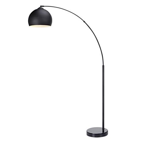Versanora Arquer Arc Floor Lamp With Black Shade And