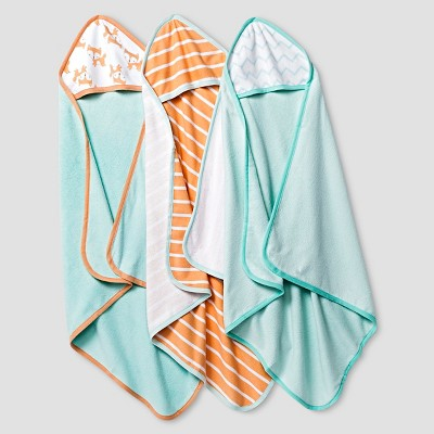 Baby Fox Print Hooded Microfiber Towels Soft 3 pk Circo™ - Aqua One Size