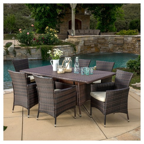 Jennifer 7pc Wicker Patio Dining Set With Cushions Brown