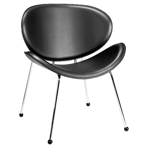 Elegantly Shaped Faux Leather and Chromed Steel Accent Chair - White - ZM Home - image 1 of 5