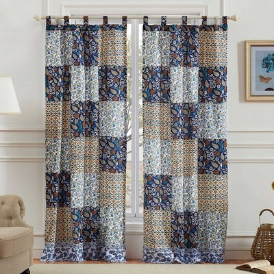 "Greenland Home Fashions Pandora Floral & Fashionable 4-Piece Window Panel & Tie Back With 3"" Rod Pocket - 42X84"" Blue"