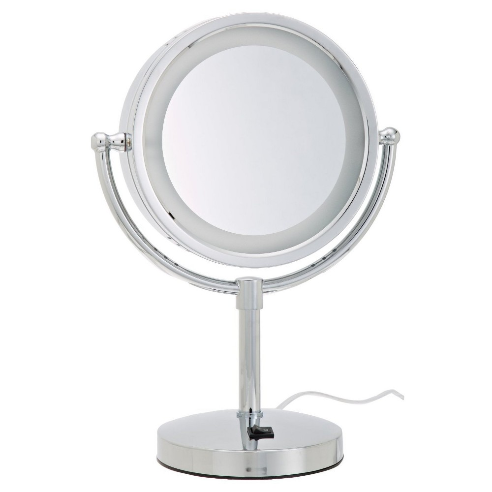 Jerdon 8.5 5X-1X Lighted Table Top Mirror Chrome