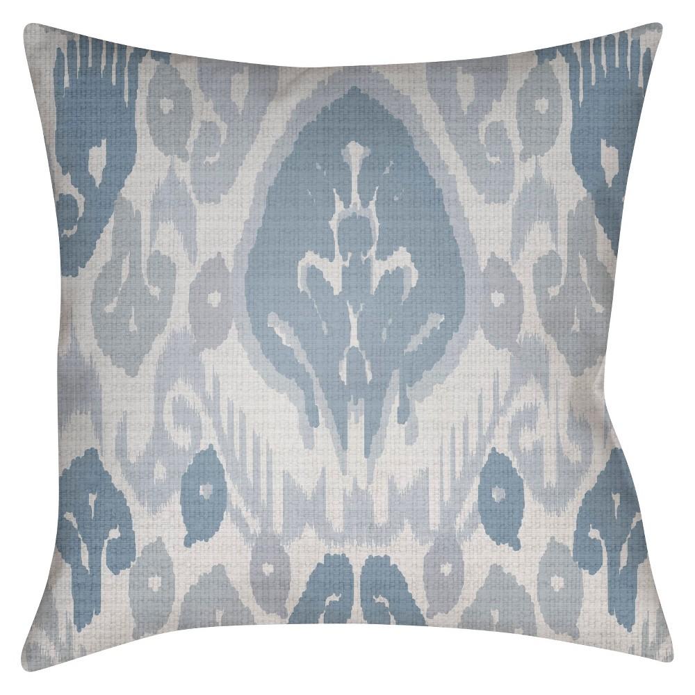 Slate (Grey) Damask Design Throw Pillow 16