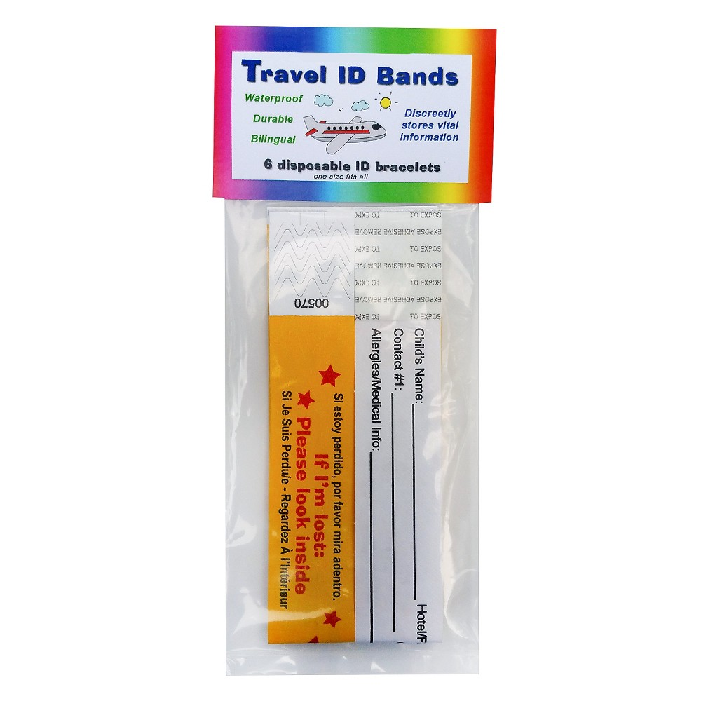 Kenson Kids Travel ID Bands, 6ct