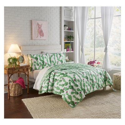 3pc King Cactus Otto Reversible Quilt Set Green - Vue