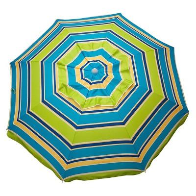 7' Beach Umbrella Stripe With Travel - Lime Stripe - Parasol