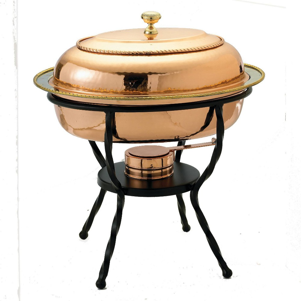 Old Dutch 6qt Steel Hammered Oval Chafing Dish
