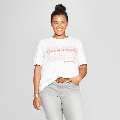 Womens Plus Size Short Sleeve Girls Run Thangs Boyfriend Graphic T