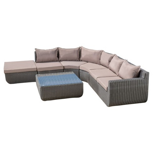 Carmel 7pc All-Weather Wicker Patio Chat Set - Gray - Christopher Knight Home - image 1 of 4