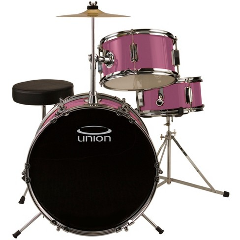Union UJ3 3pc Junior Drum Set with Hardware, Cymbal, and Throne - Pink - image 1 of 1