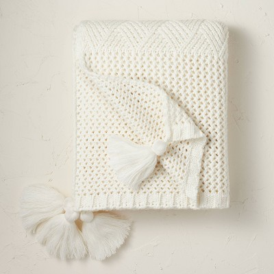 Heathered Knit Throw Blanket Cream - Opalhouse™ designed with Jungalow™