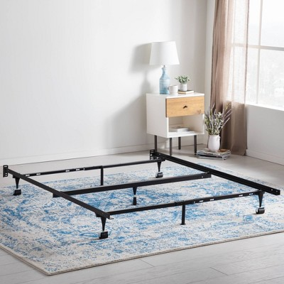 Adjustable Metal Bed Frame with Center Support & Rug Rollers - Brookside