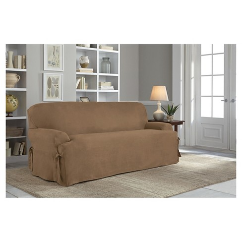 Relaxed Fit Smooth Suede Sofa Slipcover Serta