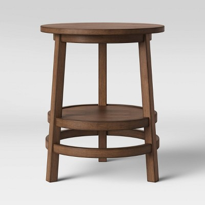 Haverhill Round Wood End Table Weathered Brown - Threshold™