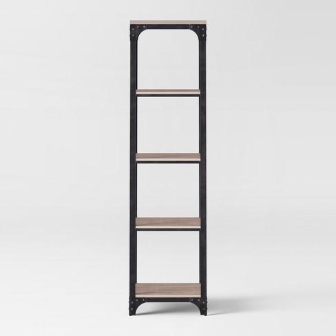 72 Franklin 5 Shelf Narrow Bookcase Gray
