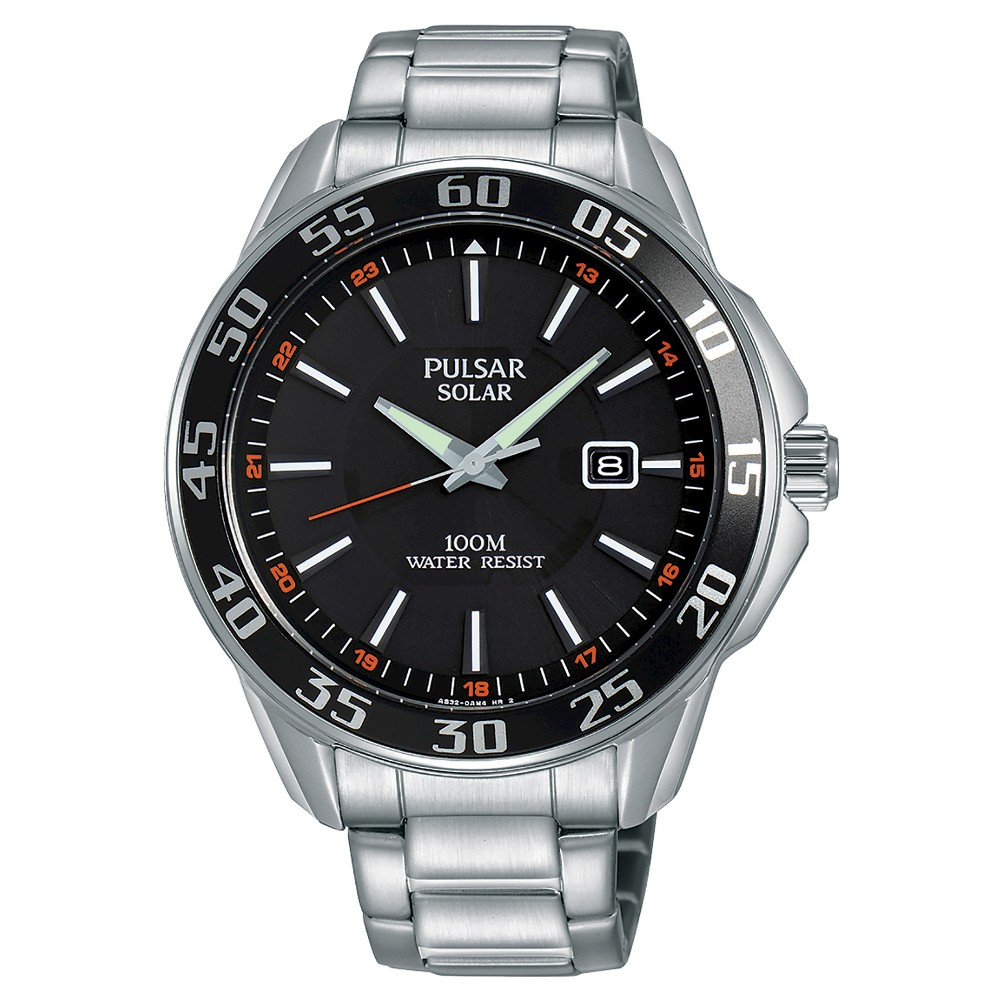 Men's Pulsar Solar - Silver Tone with Black Dial - PX3121