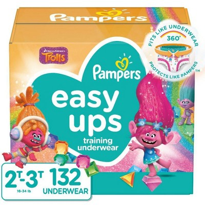 Pampers Easy Ups Girls' Training Pants Enormous Pack - Size 2T-3T - 132ct