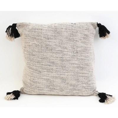 "20""X20"" Bradford Two Tone Tassel Pillow Jet Black - Decor Therapy"