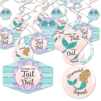 Big Dot of Happiness Trading The Tail for a Veil - Mermaid Bachelorette or Bridal Shower Hanging Decor - Party Decoration Swirls - Set of 40