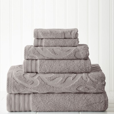 Modern Threads 6 Piece Jacquard Medallion Swirl Towel Set.