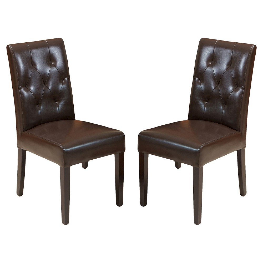 Gentry Bonded Leather Dining Chair Brown (Set of 2) - Christopher Knight Home