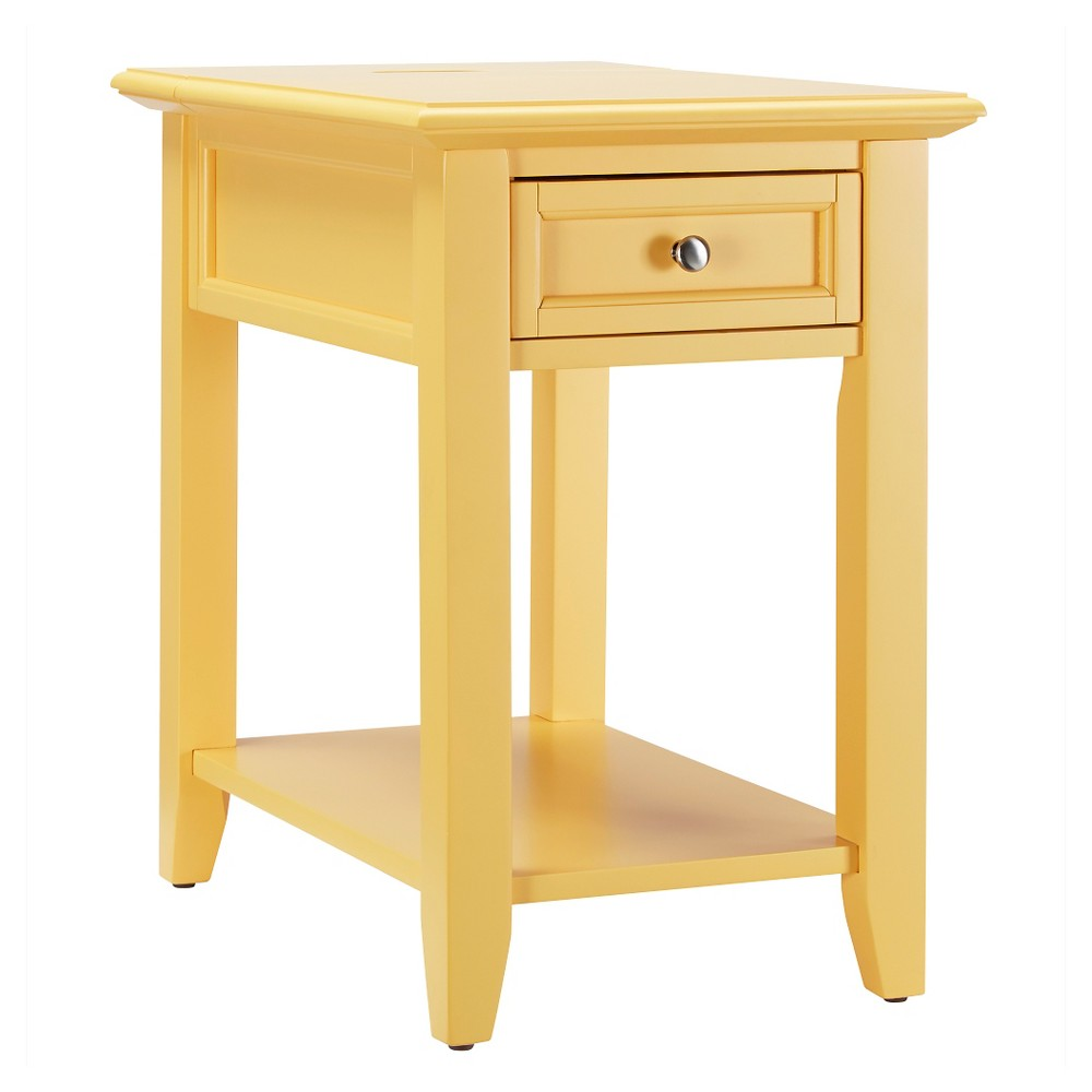 Resnick Accent Table with Hidden Outlet - Lemon (Yellow) - Inspire Q