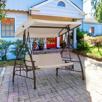 Outdoor 3 Person Swing with Cushions & Side Table - Captiva Designs