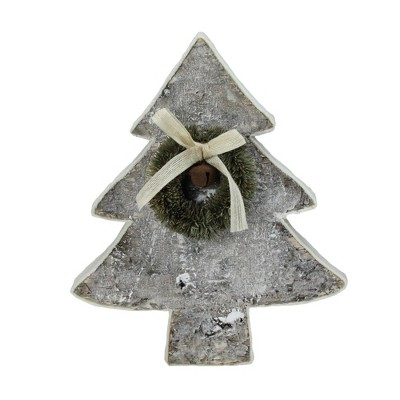 """Northlight 12"""" White and Green Contemporary Tabletop Christmas Tree with Wreath"""