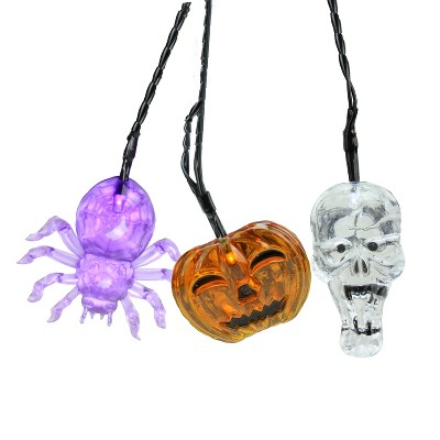 "Northlight 90ct Battery Operated Skull, Spider and Jack-o-Lantern LED Halloween Lights Black Wire - 2.5"" Purple"