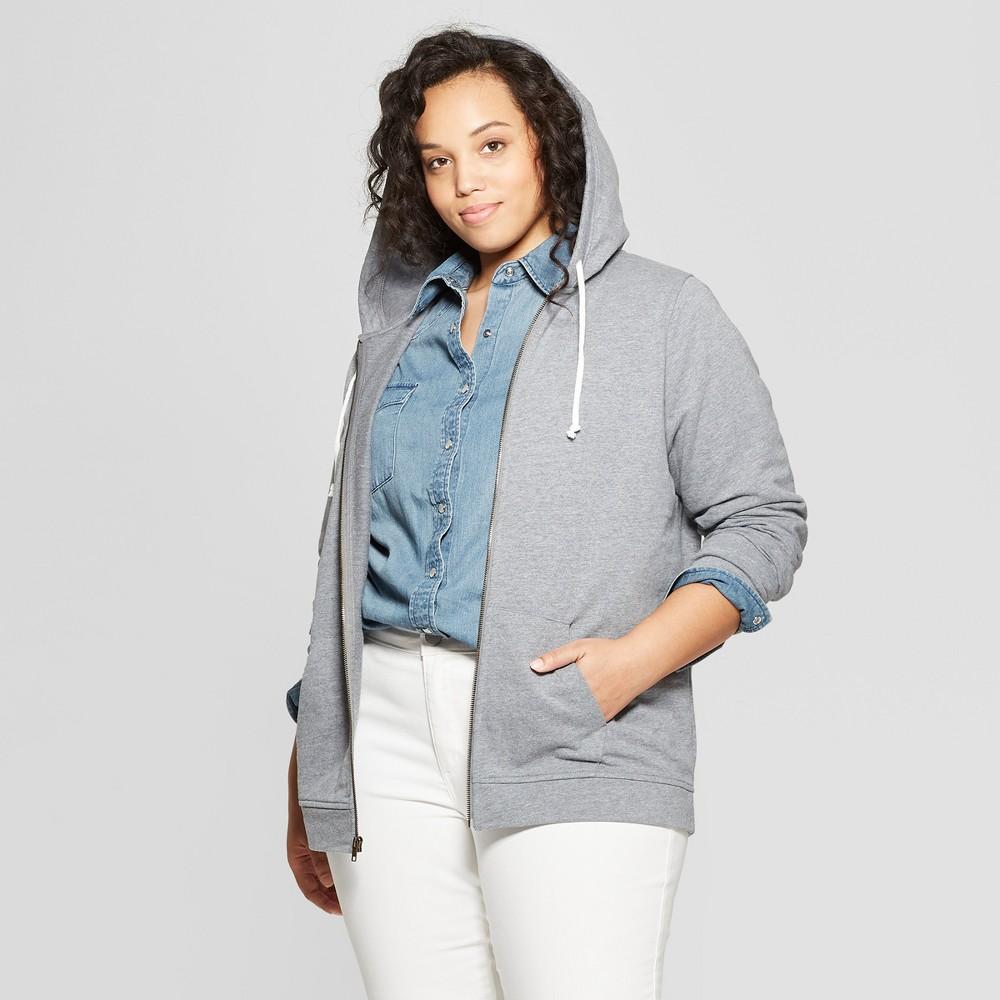 Women's Plus Size Long Sleeve Crew Neck Zip-Up Hoodie Sweatshirt - Universal Thread Gray 1X