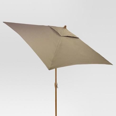 6.5' Square Umbrella - Taupe - Medium Wood Finish - Threshold™ - image 1 of 1