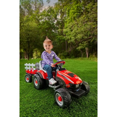 Peg Perego 6V Case Lil Tractor with Trailer Powered Ride-On - Red