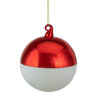 """Northlight 3.5"""" Shiny Red and Matte White Glass Christmas Ornament"""