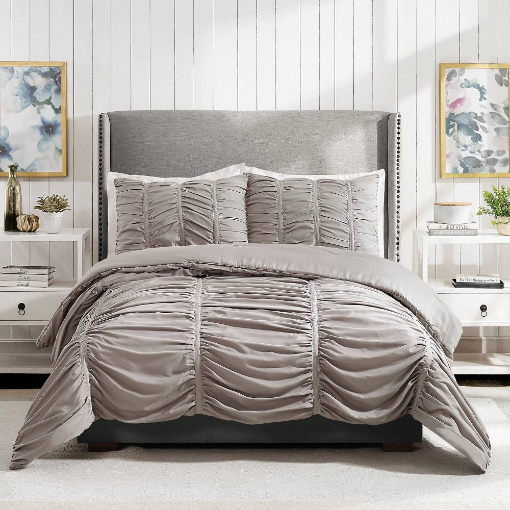 Image of Modern Heirloom Emily Texture Full/Queen Emily Texture Comforter Set Light Gray