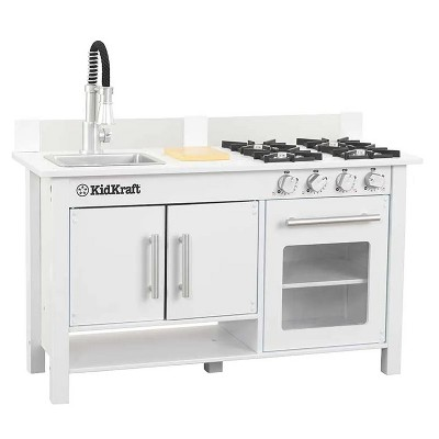KidKraft Little Cook Wooden Modern Kitchen Countertop Workstation Playset with Oven, Stove, Cutting Board, Facuet, and Sink, White
